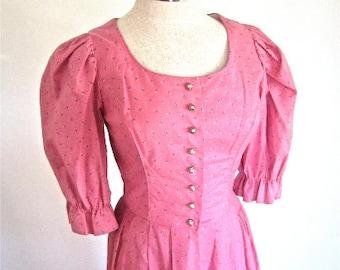 M Dirndl Dress Pink Blue Silver Buttons Octoberfest Vintage Puff Sleeves Full Skirt German Salzberger Medium