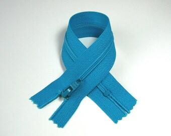 Zipper closure, DMC, 18 cm, detachable, turquoise, mesh plastic 4 mm.