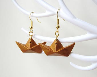 Origami earrings ships color gold with polymer clay