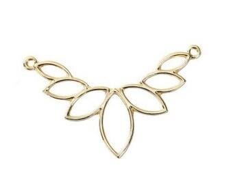 57x38mm - BK - FF7 gold lotus flower pendant