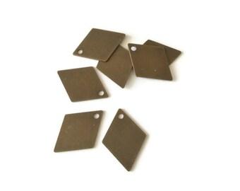 10 sequins losange couleur bronze, 18x13mm, breloques lisses en laiton bronze