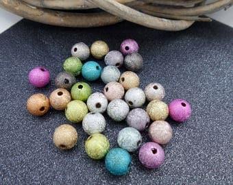 30 multicolored 8 mm acrylic beads