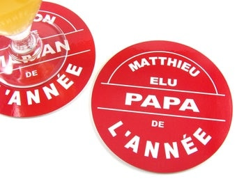Father gift coasters personalized coaster elected Dad of the year
