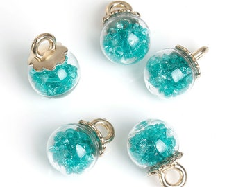 2 charms-blue/green rhinestones and glass globes