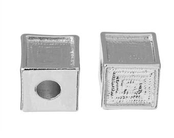 2 large square beads with large holes in matte silver