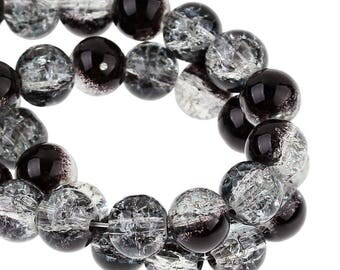 -8 mm - transparent and black round glass beads