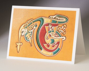 T - from Book of Kells Art Card