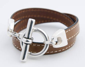 Bracelet leather seamed camel watch
