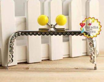 1 x 10cms rectangular bead yellow resin C14 bag clasp