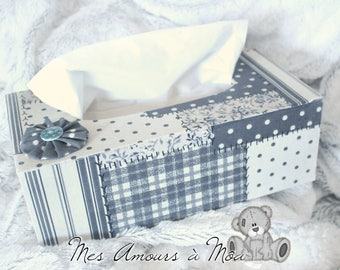 Gray patchwork fabric-covered wood tissue box