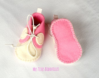 Felt white and Pale pink baby birth gift