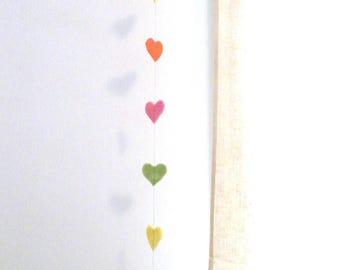 Multicolored wool felt hearts Garland