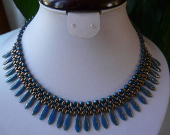 """WOVEN WITH DAGGERS BIB NECKLACE """"MEMORIES OF EGYPT"""""""