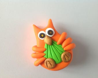 Owl: orange and green OWL brooch