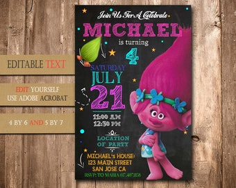 Trolls, Trolls Invitation, Trolls Birthday, Trolls Party, Trolls Birthday Invitation, Trolls Invite Printable, Trolls Birthday Party Invite