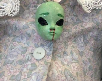 Handmade pastel grunge alien necklace