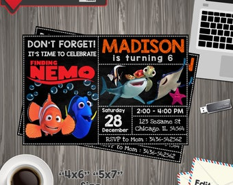 Finding Dory Invitation, Finding Dory Birthday, Finding Dory Invite, Finding Dory Party, Finding Dory PDF, Finding Editable, finding dory