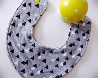 Bib-scarf or bandana bib for baby black and white geometric pattern