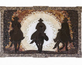 tile art mosaic granite cowboy