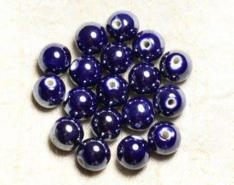 100pc - ceramic porcelain round beads iridescent 12mm blue night