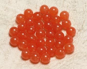 Stone - Orange Jade beads 1 strand 39cm balls 8mm