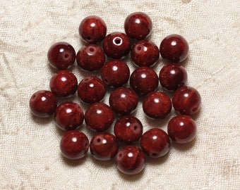 10pc - stone beads - Jade balls 10mm red Bordeaux 4558550029195