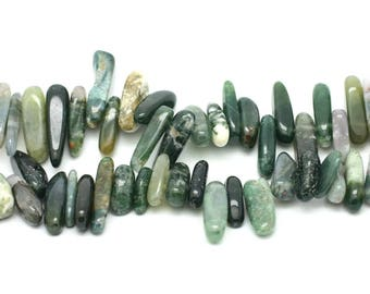 Bag 10pc - stone beads - 12-25 mm 4558550035462 Moss Agate beads