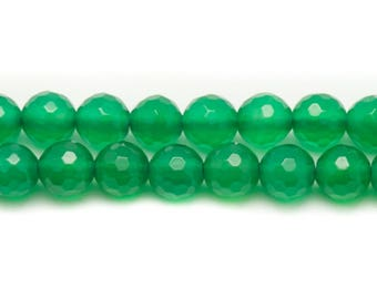 10pc - stone beads - green Onyx faceted balls 6mm 4558550038104