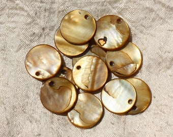 10pc - round 20mm Brown Gold 4558550019523 Pearl charms