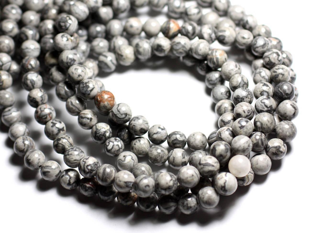 5pc perles de pierre jaspe paysage grise et noire boules. Black Bedroom Furniture Sets. Home Design Ideas