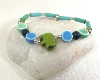 Blue and green Bracelet: Green elephant