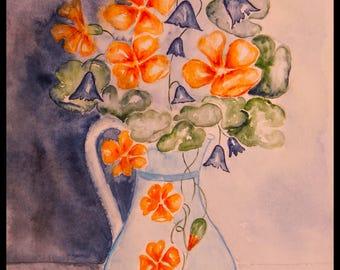 original watercolor art painting nasturtiums & Campanula No. 109 gift mother's day