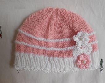 Pink baby hat with crochet lace, beads,