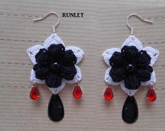 White cotton crochet Flower Earrings