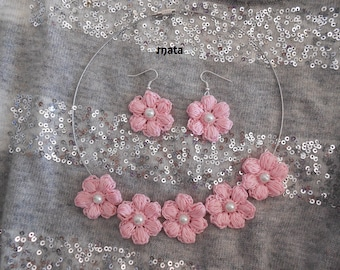 set earrings and romantic Pink Flower * Earrings