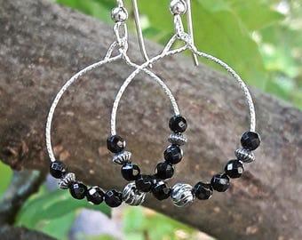 Black Onyx and Sterling Silver Drop Hoop Earrings
