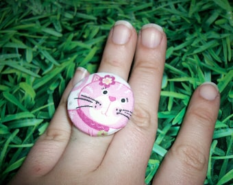 ring fabric cat buttons