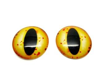 2 cabochons 30mm, yellow, 30mm, glass, dragon, steampunk, frog eyes