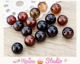 carnelian - cornelian natural 8mm or 6mm - rare round beads 5 beads