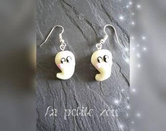 Fimo earrings glow in the dark ghost