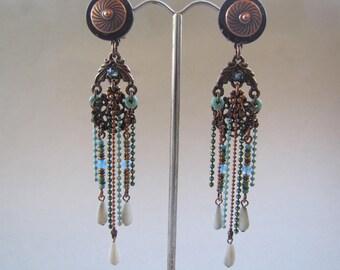 copper metal clip earrings