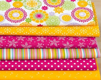 "Set of 7 fabric patchwork 30 x 25 cm ""rose/bright yellow"""