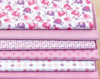 Set of 7 fabric patchwork 30 x 25 cm Pink Elephant