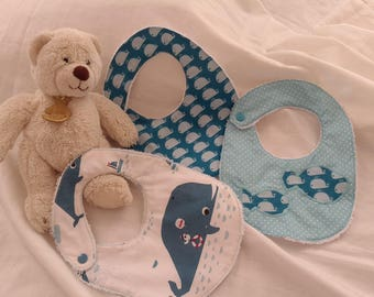 baby bibs baby white sponge, snap closure and fabric size 0-6 months - set of 3