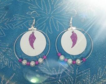 Purple and white wings hoop earrings