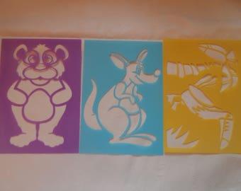 animal stencil, a bear, a bird, a kangaroo for young children set of 3 large reusable