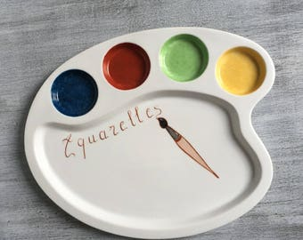 "Customizable aperitif plate porcelain palette ""watercolors"""