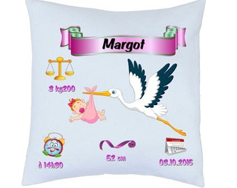 "birth announcement pillow ""girl Stork"" fully customized ref 53"