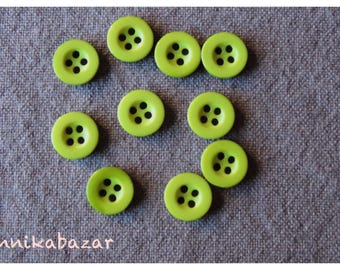 10 round olive green buttons 4 hole resin