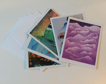 5 pack Assorted Art Cards, Greeting Cards, Note Cards, Card